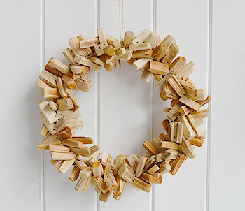 Hanging driftwood wreath
