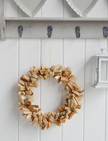Decorative hanging wreath for coastal interiors
