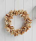 Hanging driftwood wreath for coastal styled interiors