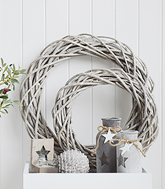 Grey Willow round wreath for New England country and coastal decorating home interiors