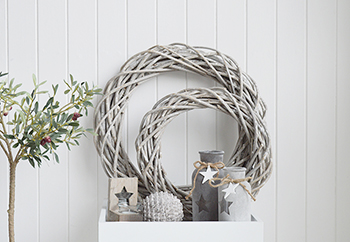 Our grey rustic willow wreaths are perfect for country and coastal styled interiors... Large £12, Small £8. from the White Lighthouse Furniture