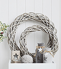 Grey willow round wreath for coastal, country and New England home furniture interiors