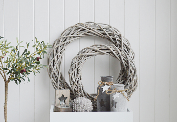 Grey willow round wreath in small and large, ideal decor for New England coastal and country interiors