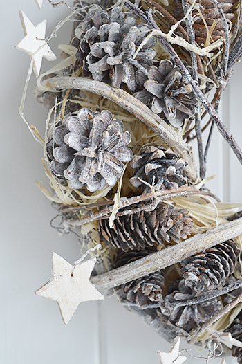 Grey Wreath Star Pinecone Twigs From The White Lighthouse