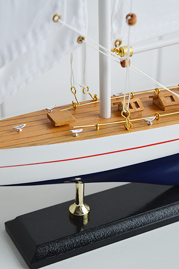 Decorative wooden yacht for nautical interiors home accessory