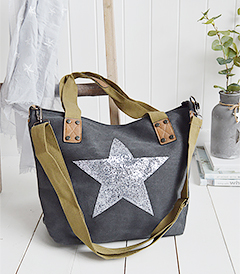 The White Lighthouse Furniture new England Lifestyle for Country and Coastal Living - grey star bag
