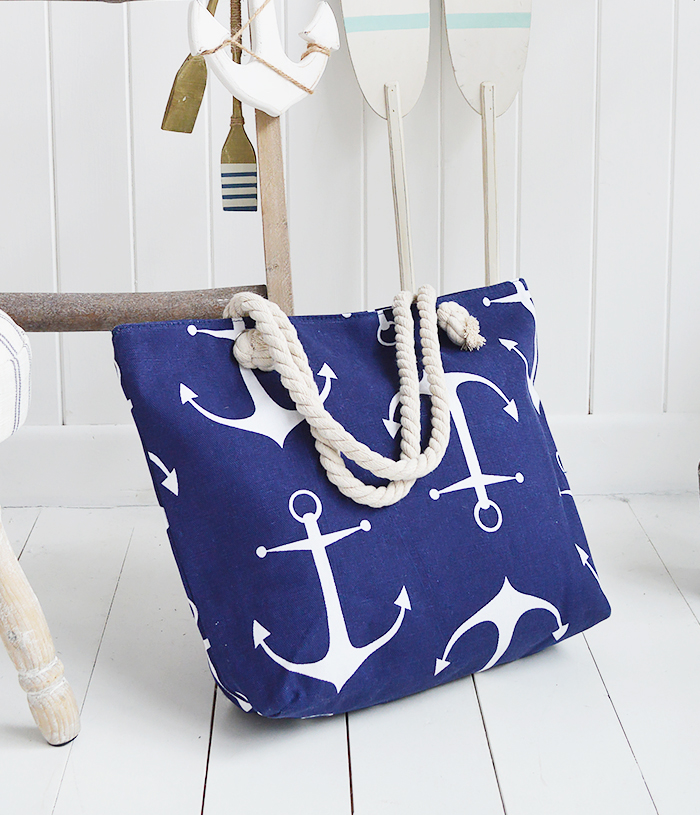 The White Lighthouse Furniture new England Lifestyle for Country and Coastal Living - navy beach bag