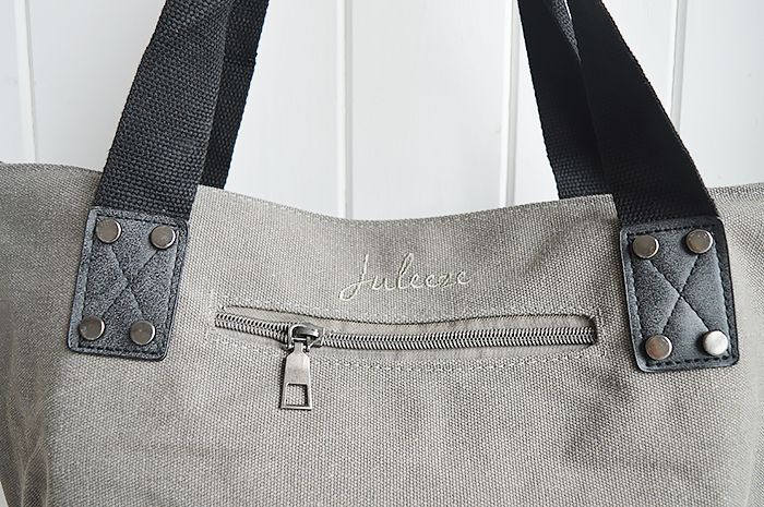 Light Grey Star Canvas Bag from The White Lighthouse New England Country Coastal White and Nordic furniture