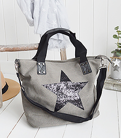 The White Lighthouse Furniture new England Lifestyle for Country and Coastal Living - light grey canvas star bag