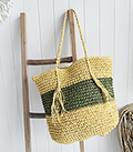 The White Lighthouse Furniture new England Lifestyle for Country and Coastal Living - Raffia green tote bag