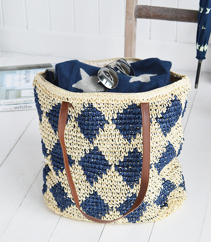 The White Lighthouse Furniture new England Lifestyle for Country and Coastal Living - Raffia tote bag full