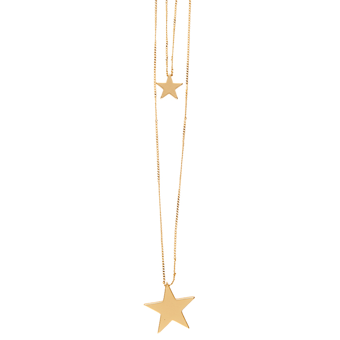 Gold coloured double star necklace