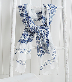 Blue and white scarf from The White Lighthouse. New England, coastal country and white furniture, home decor interiors and lifestyle
