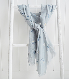 Grey Coastal scarf from The White Lighthouse. New England, coastal country and white furniture, home decor interiors and lifestyle