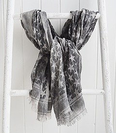 Grey and black stars scarf from The White Lighthouse. New England, coastal country and white furniture, home decor interiors and lifestyle