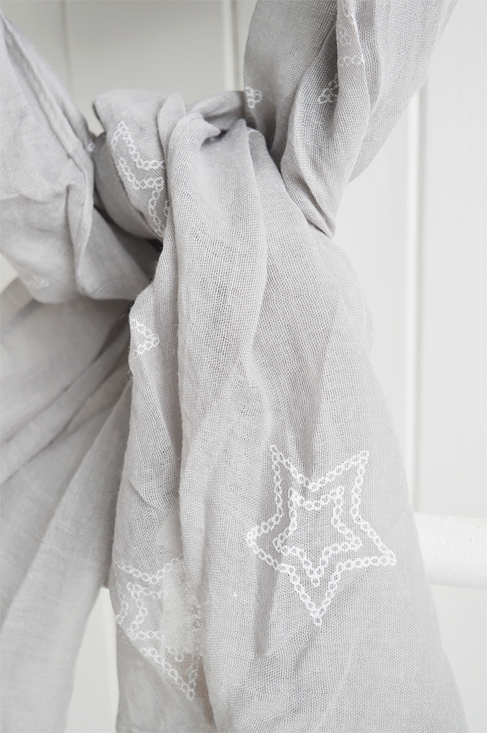 Grey and white stars scarf from The White Lighthouse. New England, coastal country and white furniture, home decor interiors and lifestyle