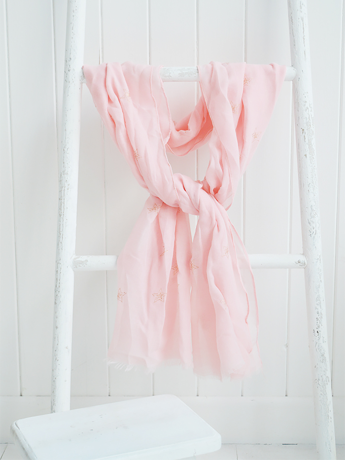 Pink and gold scarf from The WHite Lighthouse Lifestyle