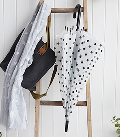 The White Lighthouse Furniture new England Lifestyle for Country and Coastal Living - black white umbrella