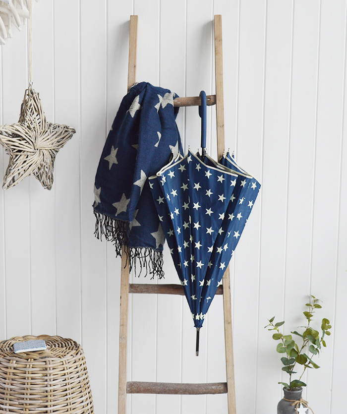 The White Lighthouse Furniture new England Lifestyle for Country and Coastal Living navy star scarf and umbrella