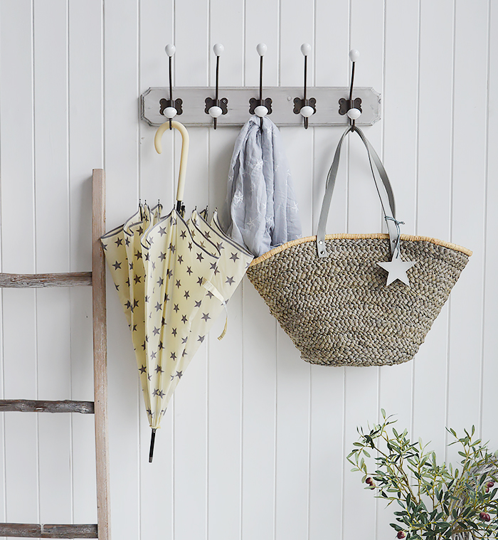 Cream and Grey Star Umbrella and Grey Star Shopper from The White Lighthouse New England Country Coastal White and Nordic furniture