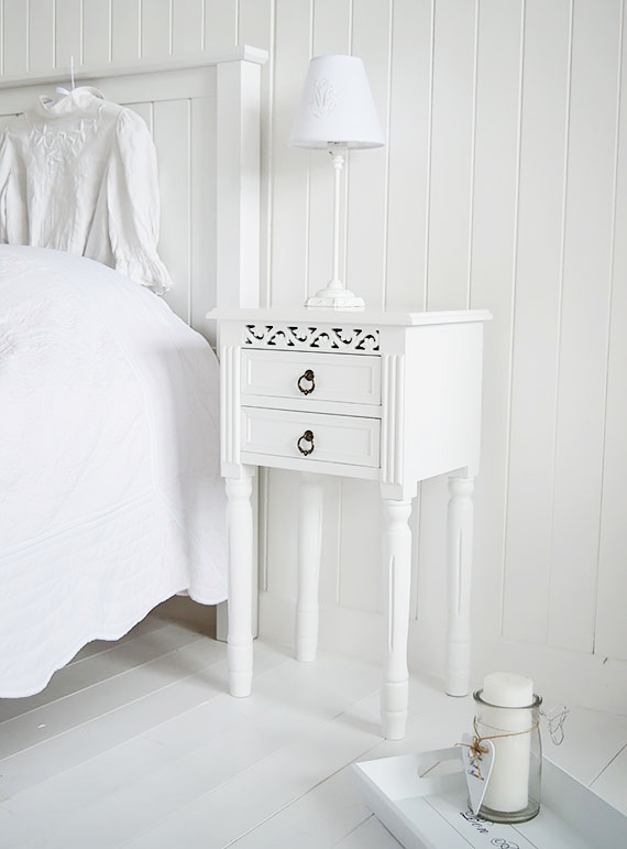 The White Lighthouse offers bedside tables for coastal stle bedroom interiors