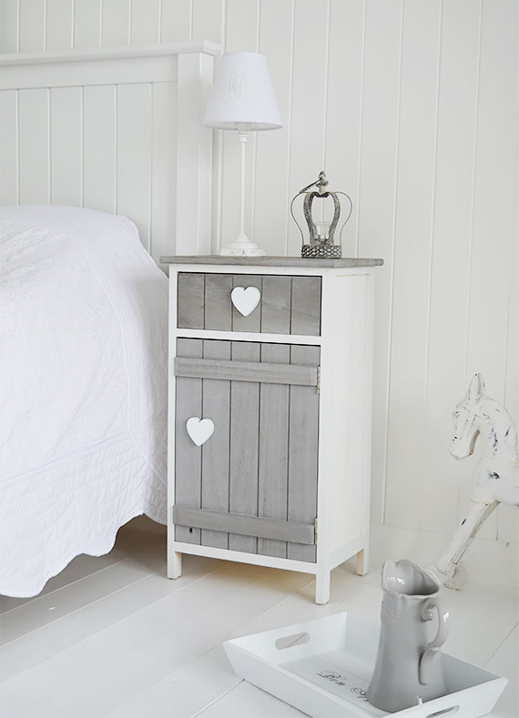 Heart bedside table,  beach furnitrue for a cottage by the sea
