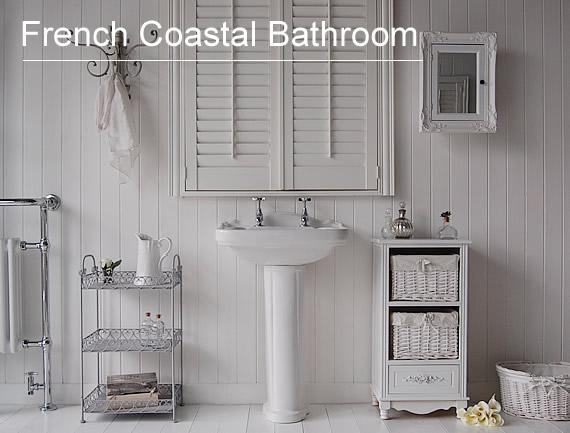 White bathroom furniture french coastal theme bathroom for French themed bathroom