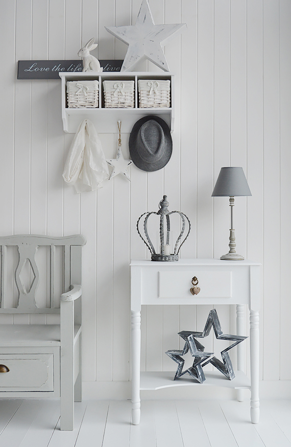 Plymouth white console or lamp table with a single storge drawer and a  shelf along with. Hall Furniture  Simple white hallway storage  Hallway decorating ideas