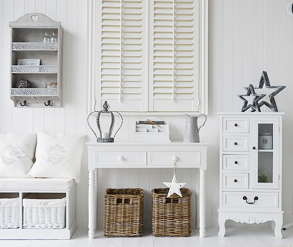White ahll decor with storage bench  console table and white cabinet   Finished with grey. Hall Furniture  White and grey hall  Hallway decorating ideas