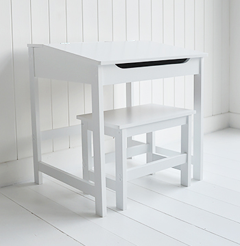 Children S White Desk And Chair With Liftable Lid For Storage