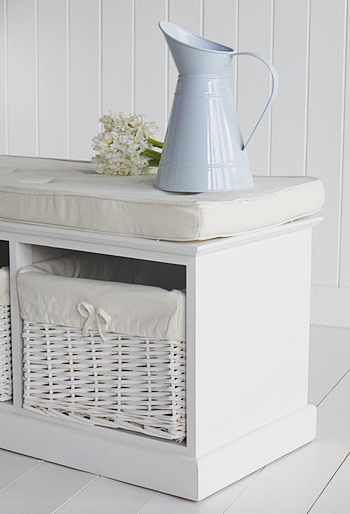 A White Storage Seat With Baskets Hall Furniture