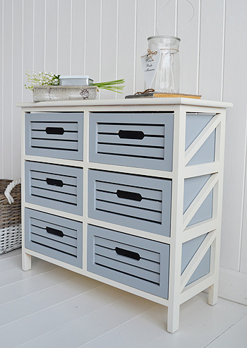 Side view to show the colours of the Beach House nautical furniture for hallway, living room or bathroom