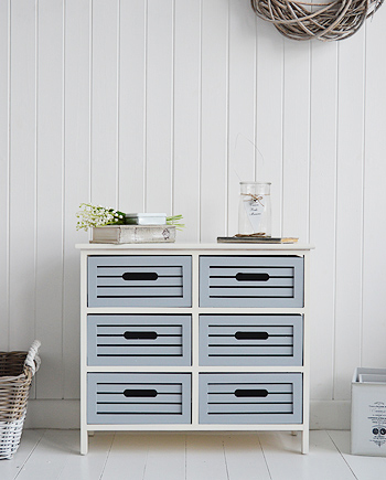 Beach House ivory and grey storage unit with crate drawers