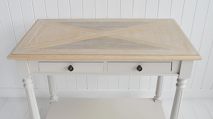 The White Lighthouse Brittany Cosnsole Hall table from The White Lighthouse Country, Coastal and New England Hallway furniture. Shows parquet table top
