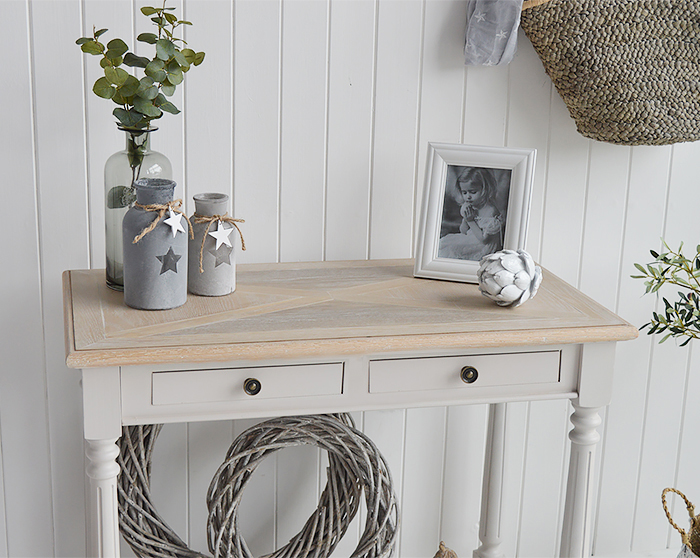The White Lighthouse Brittany Console Hall table from The White Lighthouse Country, Coastal and New England Hallway furniture. Shows washed wood top