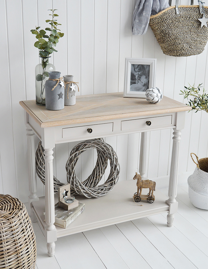 The White Lighthouse Brittany Console Hall table from The White Lighthouse Country, Coastal and New England Hallway furniture for home interiors