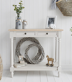 Brittany grey console table for living room and hallway furniture in coastal, country scandinavian and New England style interior