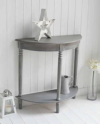 british colonial furniture range in grey half moon console table from the white lighthouse. Black Bedroom Furniture Sets. Home Design Ideas