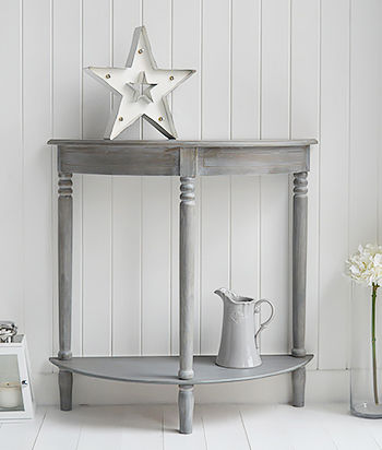 British Colonial Grey half moon hall console table