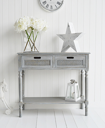British colonial furniture range in grey console table - White colonial bedroom furniture ...