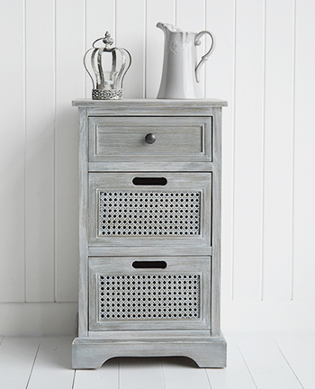 British Colonial Grey Lamp Side Table Drawers Living Room