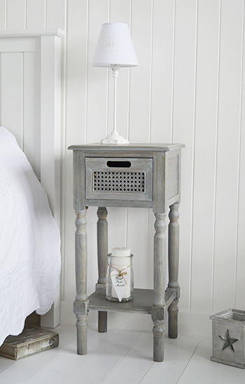 British Colonial Grey bedside table