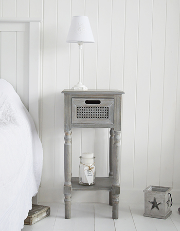 British Colonial Grey Bedside Table narrow with shelf and drawer