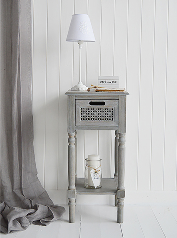 British Colonial Grey lamp table