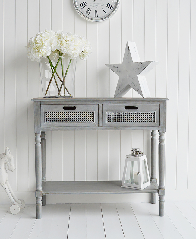 British Colonial Furniture Range in grey Console Table with drawers