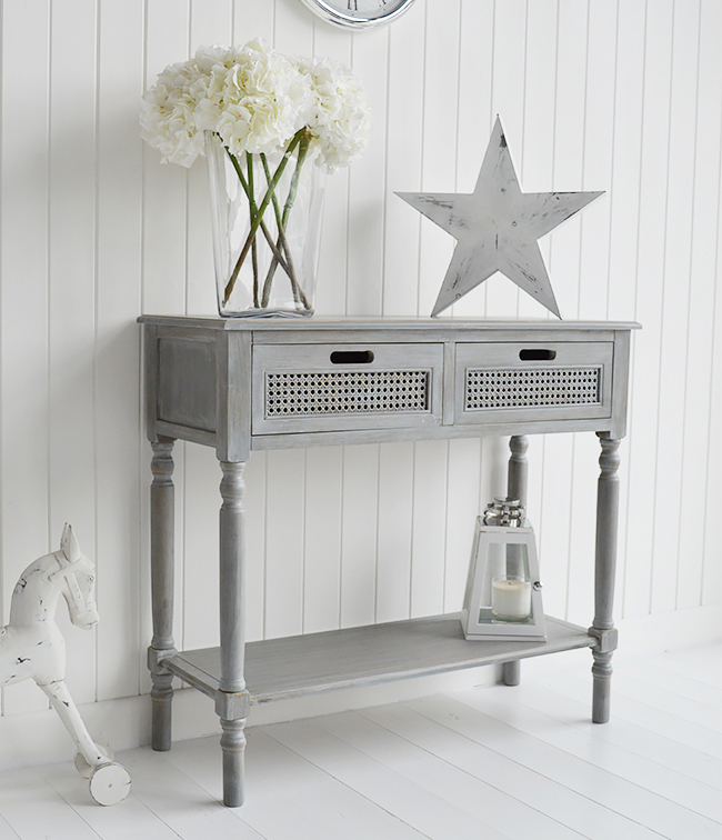 British Colonial Furniture Range In Grey Console Table