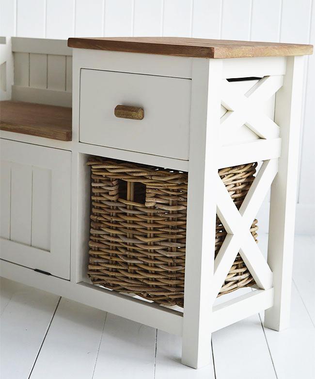 White Hallway Storage Furniture: Brunswick Storage Bench And Shoe Storage For Hall Furniture