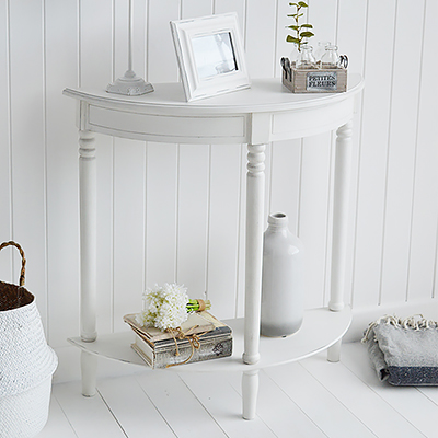 Colonial half moon white console table with a shelf for narrow hallway furniture