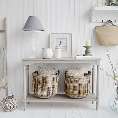 The White Lighthouse Hudson Vintage Grey Console Table. Console tables with shelf. Hallway furniture and hall table. Ideal for hall or living room in New England style homes for country, coastal, farmhouse and city homes