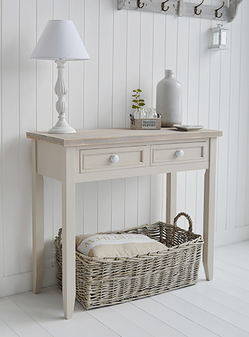 Keep the home bright and airy with light furniture in colours of the coast - greys, white and and natural finishes are most definitely the favourites